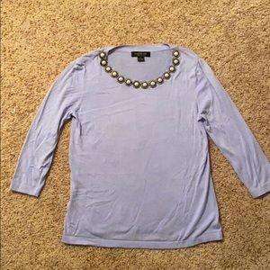 August Silk 3/4 Sleeve Periwinkle Soft Top